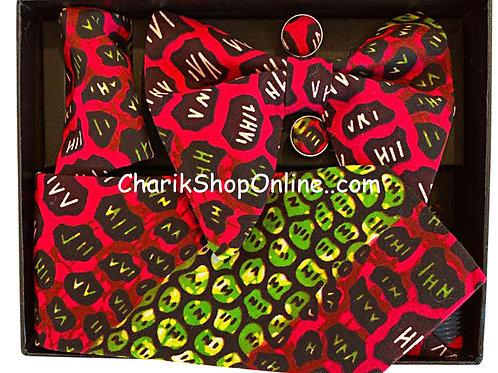 Ankara Red Hiya Classic Bow Tie - handkerchief - cuff lin