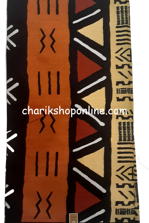 African Fabric 6 Yards/ Mudcloth Print /Brown Triangles Bogolan Print