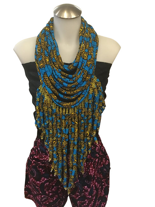 Blue Green African Print Fabric Long Necklace