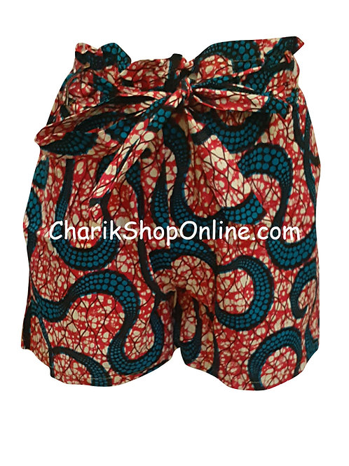 African Ankara print shorts with belt Blue Octo