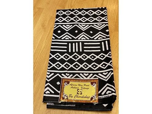 African Wax Print 6 yards/ Ankara fabric/ Back White Pattern ankara/