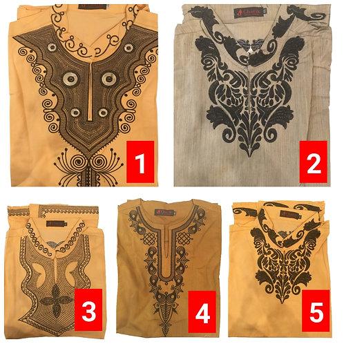 3 African embroidered dashiki men's shirt Size 4XLSet #1
