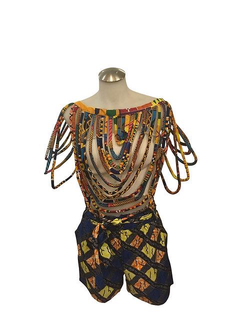 Ankara Print Short Length Over Shoulder Shawl Multicolor