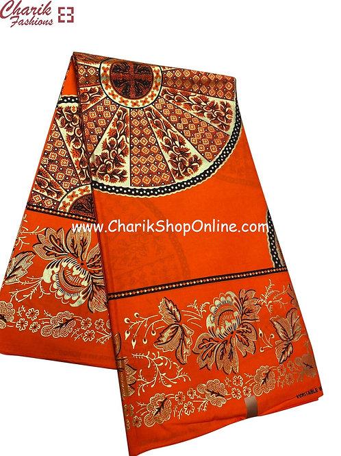 African Wax Print  6 yards/ Ankara fabric/Orange Wheel ankara/