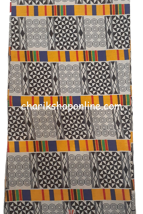 African Wax Print 6 yards/ Ankara fabric/ Grey Black Kente ankara/