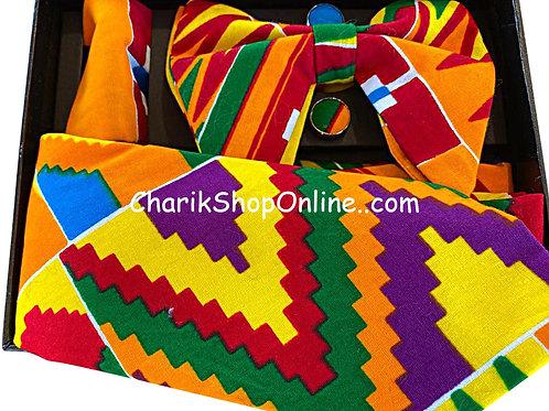 Ankara Kente Print Classic Bow Tie - handkerchief - cuff link