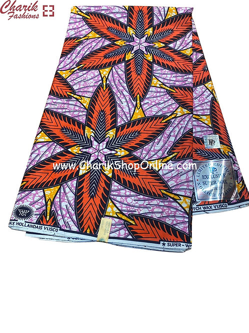 African Wax Print  6 yards/ Ankara fabric/ Feather feather ankara/