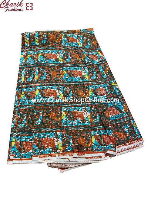 African Wax Print  6 yards/ Ankara fabric/ Brown Bird ankara/