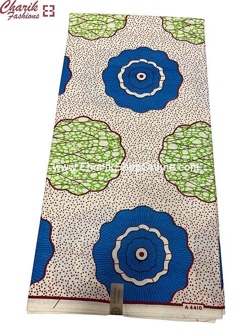 African Wax Print  6 yards/ Ankara fabric/ Blue Amoeba ankara/