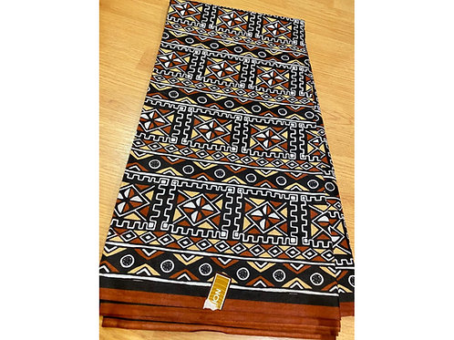 African Wax Print 6 yards/ Ankara fabric/ Brown Chrome Mudcloth ankara/