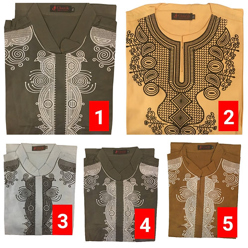 5 African embroidered dashiki men's shirt Size 2XLSet #2