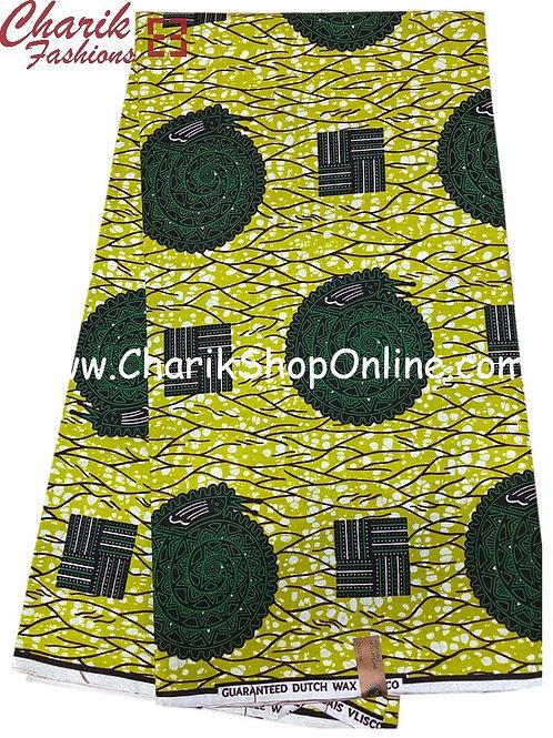 African Wax Print  6 yards/ Ankara fabric/ Green Coil ankara/