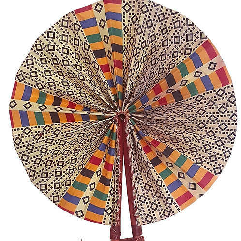 African Folding Hand Fan Black Square Quality Fabric