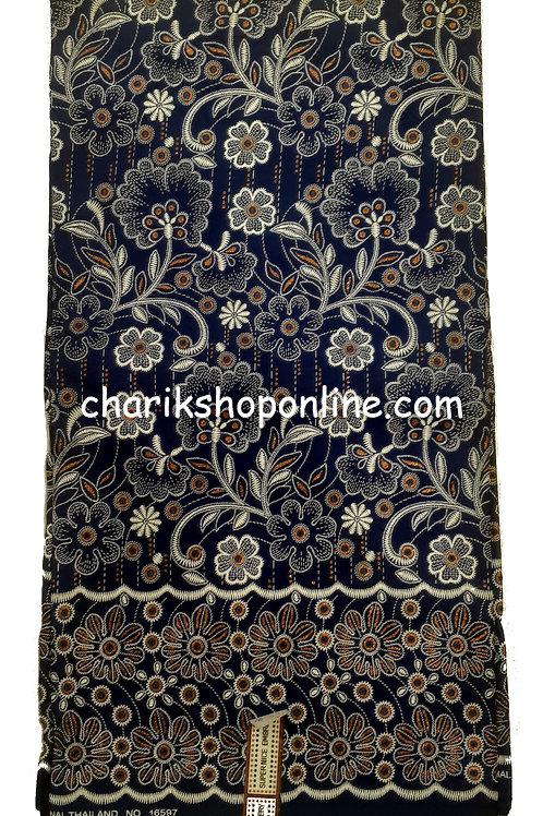 African Wax Print 6 yards/ Ankara fabric/ Raised Dark Blue Floral Leaf ankara/