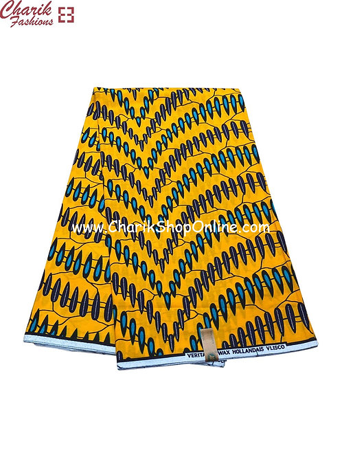 African Wax Print  6 yards/ Ankara fabric/ Yellow Wall ankara/