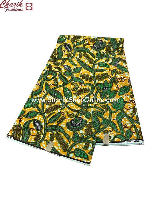 African Wax Print  6 yards/ Ankara fabric/Plant Life ankara/