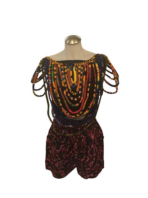 Ankara Print Short Length Over Shoulder Bib Necklace Kente