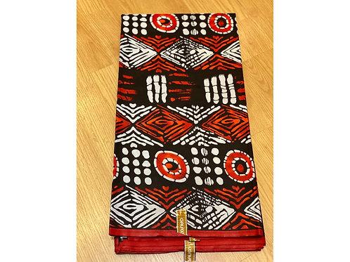 African Wax Print 6 yards/ Ankara fabric/ Burnt Orange Ring ankara/
