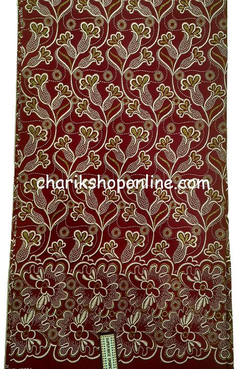 African Wax Print 6 yards/ Ankara fabric/ Raised Red Olive ankara/