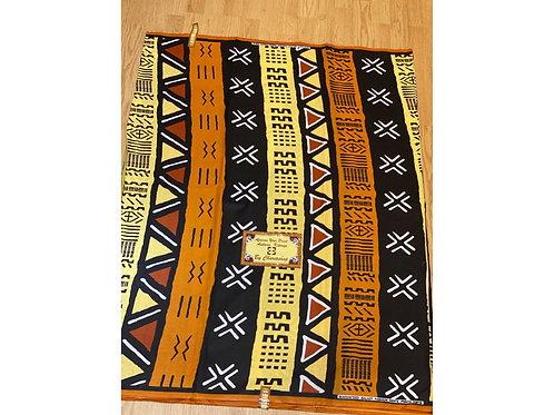 African Wax Print 6 yards/ Ankara fabric/ Yellow Brown Mudcloth ankara/