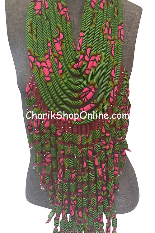 Ankara Print Full Length Beaded Statement Necklace Green