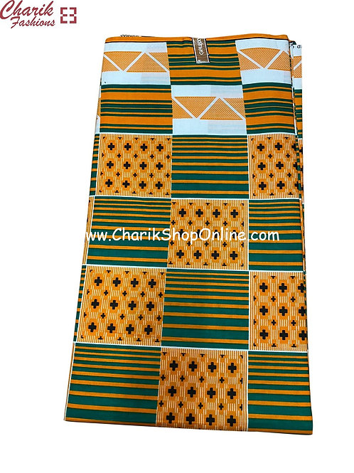 African Wax Print  6 yards/ Ankara fabric/ Green Zig Zag ankara/