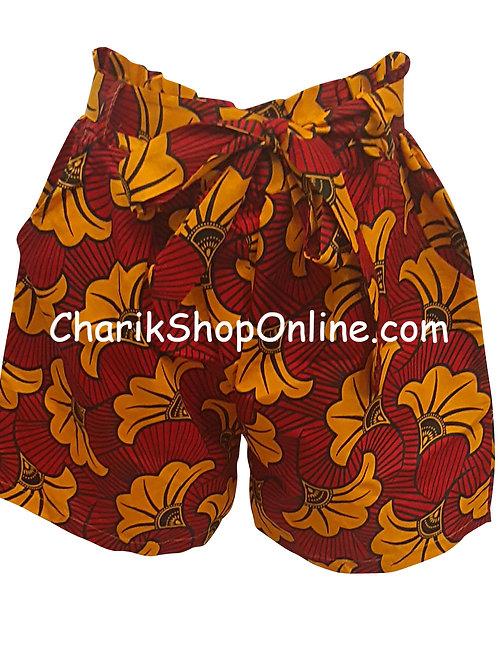 African Ankara print shorts with belt Orange Bloom