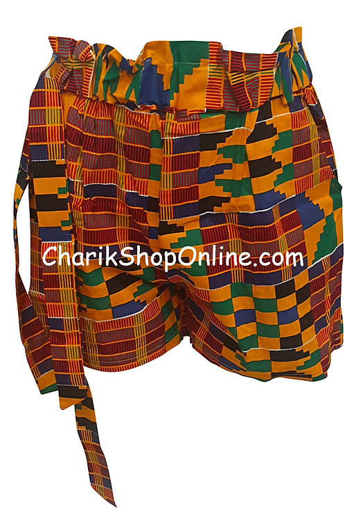 African Ankara Kente print shorts with belt