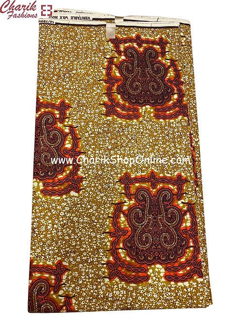 African Wax Print  6 yards/ Ankara fabric/ Brown Crest ankara/