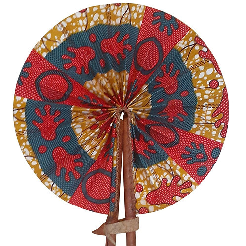 African Folding Hand Fan Red Footprints Quality Fabri