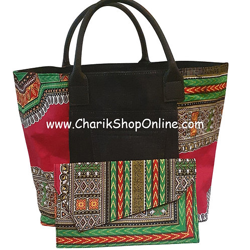 Ankara purse/ oversized dashiki handbag reversible denim/ Ankara bag Pink