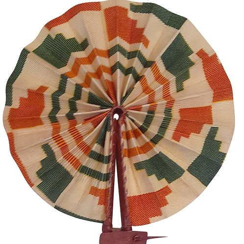 African Folding Hand Fan Green Orange Steps Quality Fabric