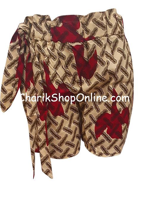 African Ankara print shorts with belt Red Leaf