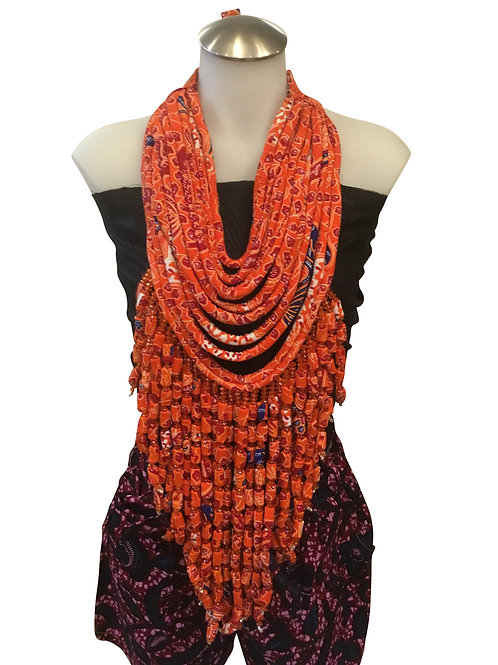 Orange African Print Fabric Long Necklace