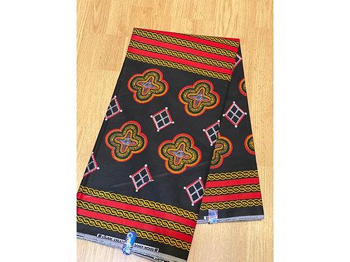 African Wax Print 6 yards/ Ankara fabric/ Red Yellow Amoeba ankara/