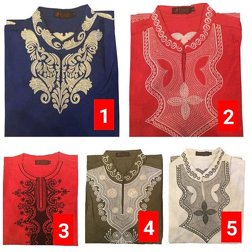 1 African embroidered dashiki men's shirt Size Large Set #2