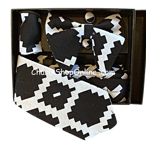 Ankara Black & White Print Classic Bow Tie - handkerchief - cuff link