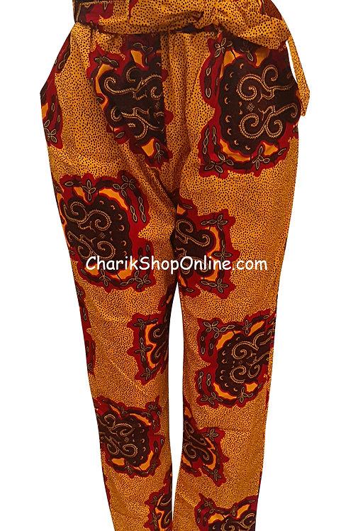 Full Elastic Burgundy Crest African print pants with belt Ankara pants