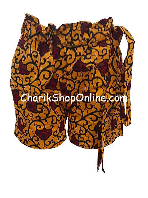 African Ankara print shorts with belt Red Bloom