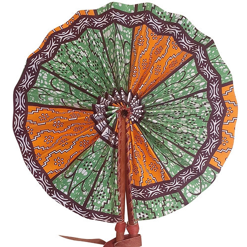 African Folding Hand Fan Seven Dot Quality Fabric