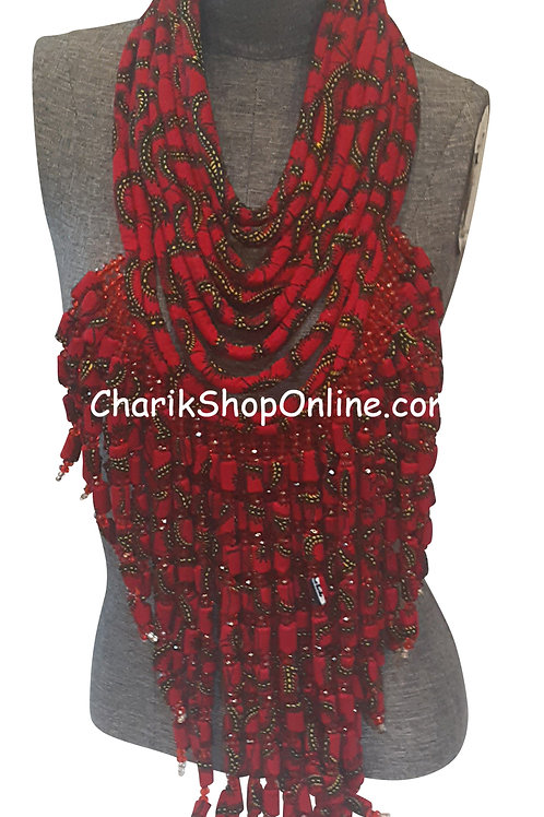 Ankara Print Full Length Beaded Statement Necklace Red