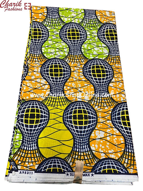 African Wax Print  6 yards/ Ankara fabric/ Blue Sphere ankara/