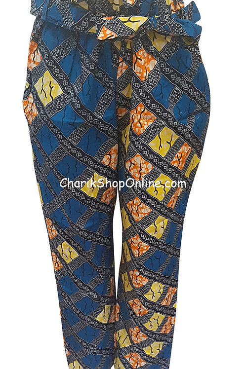 Full Elastic Yellow Stone African print pants with belt