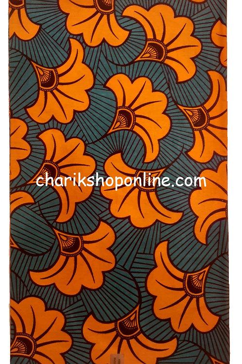 African Wax Print 6 yards/ Ankara fabric/ Grey Orange Bloom ankara/