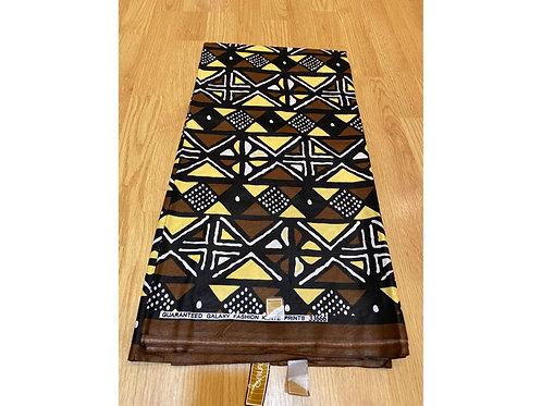 African Wax Print 6 yards/ Ankara fabric/ Brown Mudcloth ankara/