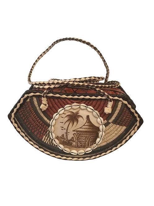 Ankara African Rope & Leather Half Moon Tote Bag #1