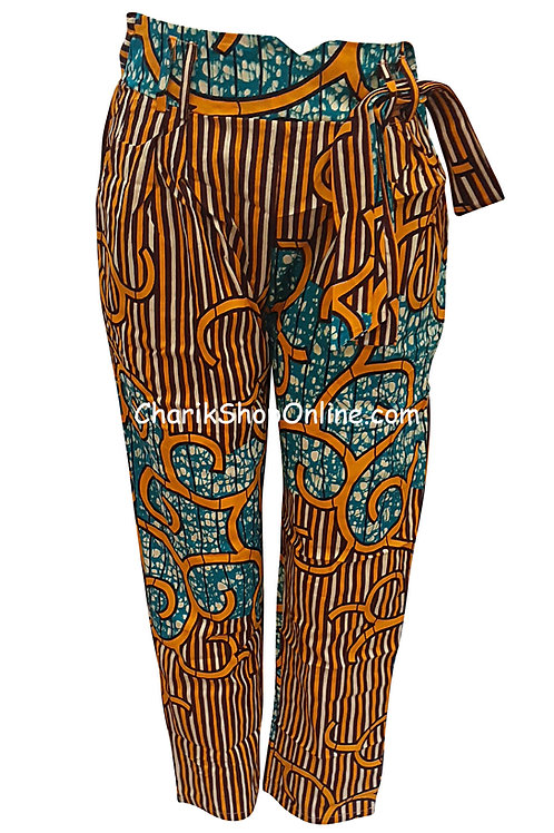 African Gold Stream V-Cut Ankara print pants with belt