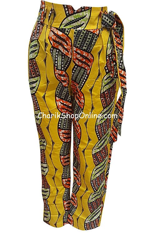 African Red Braid V-Cut Ankara print pants with belt