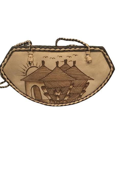 Ankara African Rope & Leather Half Moon Tote Bag #9