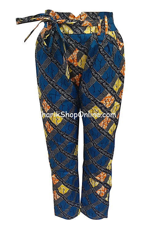 African Yellow Stone V-Cut Ankara print pants with belt